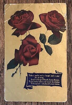 Antique 1910 Postcard~3 Roses & Encouraging Sentiment Greetings~Gold Background