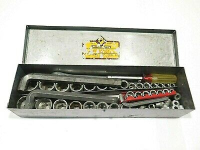 Vintage Lot of Hex Sockets and Old Tools in Metal Armstrong Box