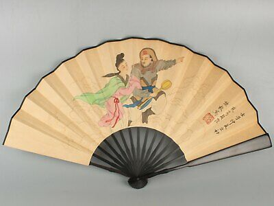 Chinese Exquisite Handmade character Wooden Hand Painted fan