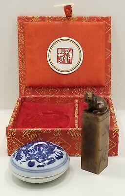 Vintage Asian Chinese Carved Soapstone Seal Stamp In Box With Sealant