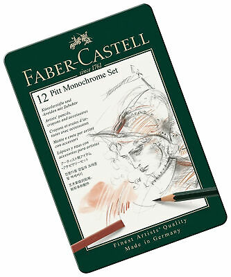 Faber-Castell PITT Monochrome Professional Quality 12-Piece Introductory Set in
