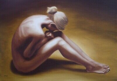 Oil painting young ashamed naked young woman depression act girl