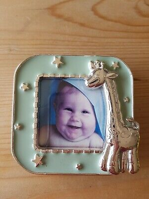 Baby's Mini Photo Frame - Green With Silver Giraffe and stars