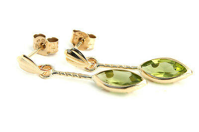 9ct Gold Peridot marquise Drop Earrings Gift Boxed Made in UK Birthday Gift