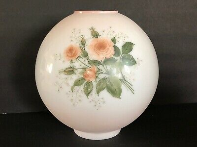 """Vintage GWTW 10"""" Pink Rose Bouquet Round Glass Ball Hurricane Lamp Shade"""