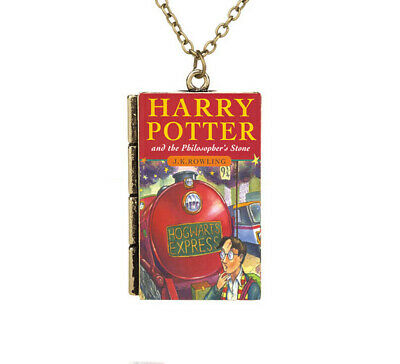 Miniature Harry Potter and the Philosopher's Stone TINY Book Hogwarts Necklace