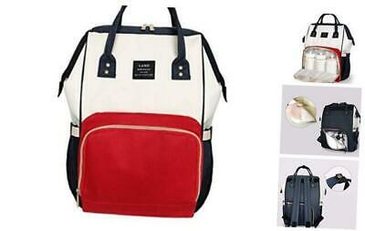 Land Baby Diaper Bag Backpack - Multi-Function Waterproof Maternity Red & White