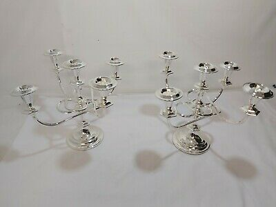 A Matching Pair Of Beautiful 5 Branch Silver Plated Candleabras.very Ornate.
