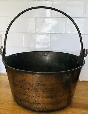 Antique Vintage Brass Preserving Jam Pan - Cauldron Cooking  Pot