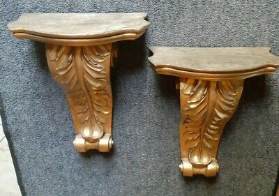 Pair Of X-Large Gold Decorative Hanging Wall Sconce Shelves