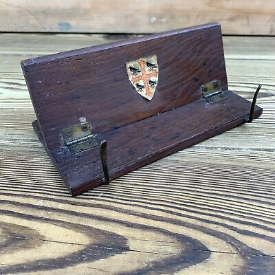 Vintage Wooden Book Rest Stand With Brass Clips Folding
