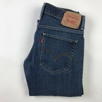 Levis 511 Mens Slim Skinny Jeans Blue Dark Wash Stretch Pockets Denim 34 X 30