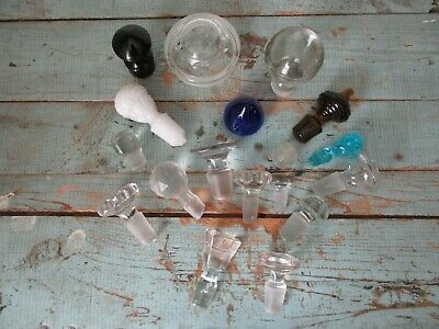 Vintage Glass Stoppers Perfume Bar Apothecary Lot of 18 Colored