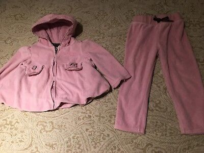 Calvin Klein velour tracksuit set outfit jacket+leggings pink 2y 24m baby girls