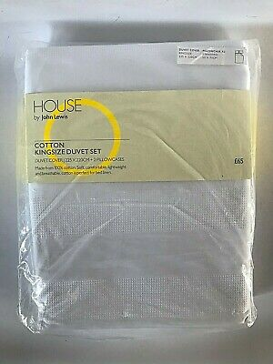 John Lewis House Waffle White Cotton King Size Duvet Cover & Pillowcases Set
