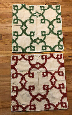 2 Pottery Barn Pillow Covers Green And Orange Velvet Whip Stitched