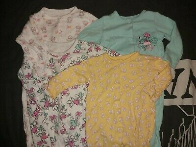 Baby sleepsuits bundle ×4 Disney Minnie mouse Marie Colourful 0-3 months