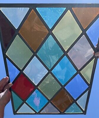Stained Glass Leaded Window With Colourful Cathedral Glass