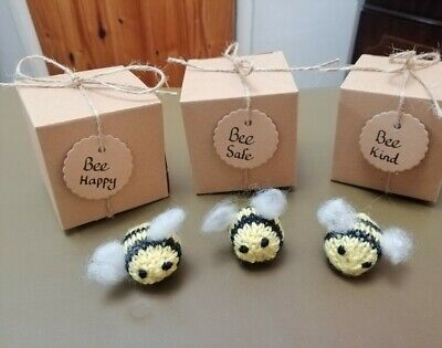 Knitted Bee in box- Bee Happy(be happy) , Bee Kind (be kind) Bee Safe (be safe)