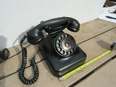 Antique / Vintage Black  Rotary Desk Telephone Phone Unknown Brand
