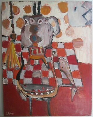 OLD signed J.A.G Figurative TEAPOT Kitchen Large ABSTRACT OIL PAINTING on canvas