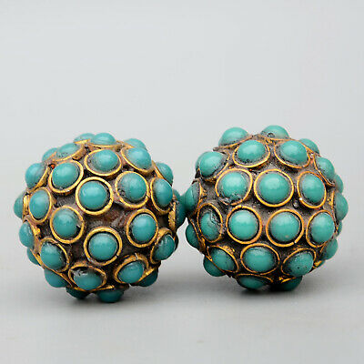 Collect Old Bronze & Agate Hand-Carved Ball Shape Delicate Noble A Pair Statue