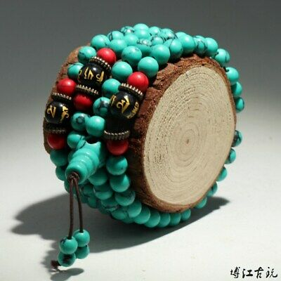 Collectable China Old Turquoise Hand-Carved Delicate Unique Decorate Bracelet
