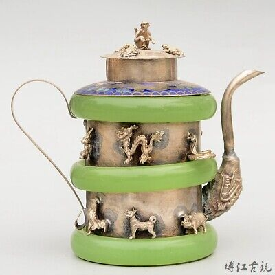 Collect Old Miao Silver Armour Agate Hand-Carved 12 Zodiac Bring Luck Tea Pot