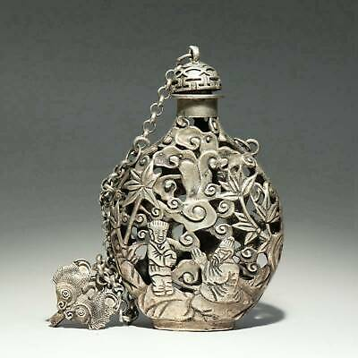 Collectable Old Miao Silver Hand-Carved Double Fish & Immortal Luck Snuff Bottle