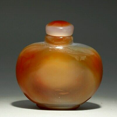 Collectable Handwork China Old Agate Carve Delicate Unique Valuable Snuff Bottle