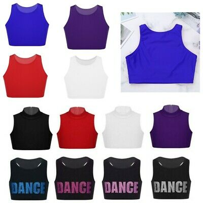 Girls Dance Crop Top Kids Gymnastics Stretch Tank Tops Racer Back Vest Dancewear