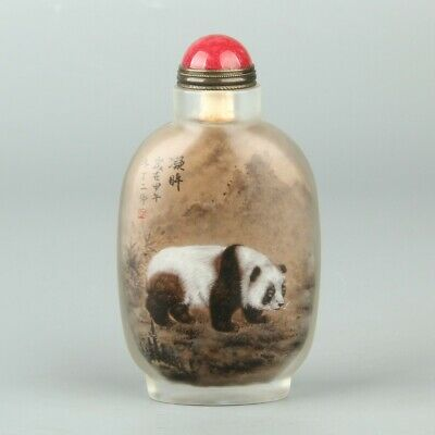 Chinese Exquisite Handmade panda Glass Inner painting Snuff Bottle