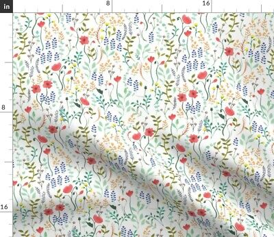 Flowers Wildflowers Summer Red Blue Yellow Fabric Printed by Spoonflower BTY