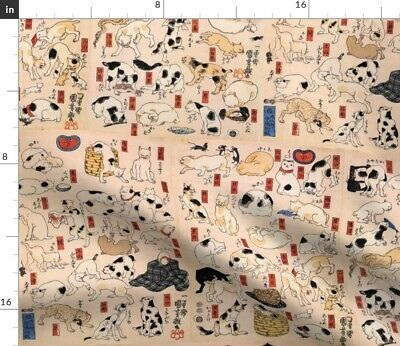 Retro Cats Cats Japanese Vintage Kitties Cat Fabric Printed by Spoonflower BTY