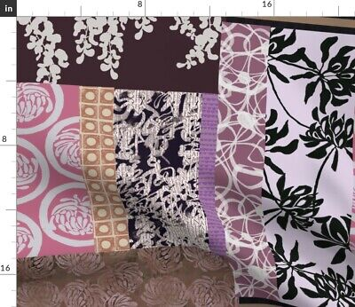 Abstract Patchwork Quilt Floral Cheater Japan Fabric Printed by Spoonflower BTY