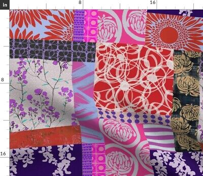 Abstract Cheater Quilt Red And Purple Fabric Printed by Spoonflower BTY