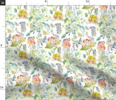 Hydrangea Delicate Vintage Watercolor Floral Fabric Printed by Spoonflower BTY