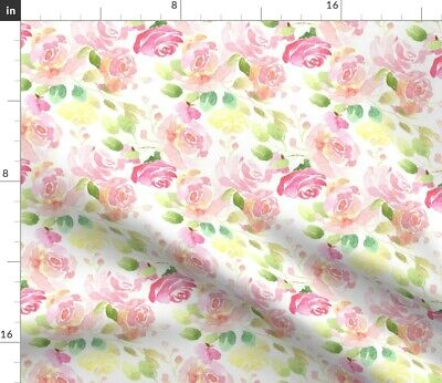 Blush Pink Floral Watercolor Watercolour Pink Fabric Printed by Spoonflower BTY
