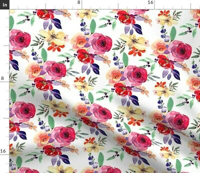 Floral Pink Red Flower Florals Watercolor Fabric Printed by Spoonflower BTY