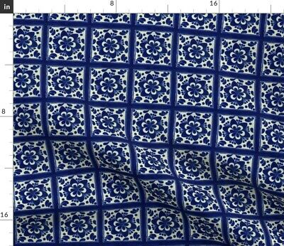 Mexican Tiles Mexican Tiles Blue White Modern Fabric Printed by Spoonflower BTY