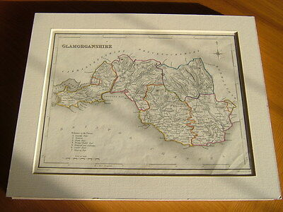 Antique Hand Coloured Map Of Glamorganshire From Lewis' Topographical Dictionary