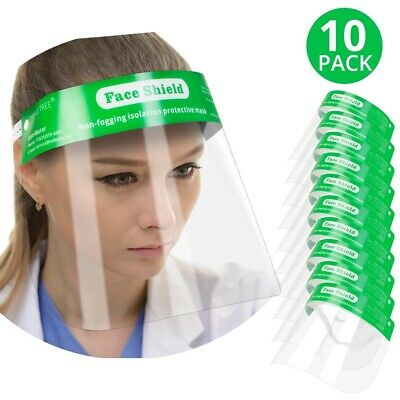 10 Pcs Reusable Safety Face Shield Full Protection Clear Anti-fog Visor Guard