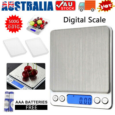 0.01-500g Jewellery Kitchen Food Scale Digital LCD Electronic Balance Scales AU