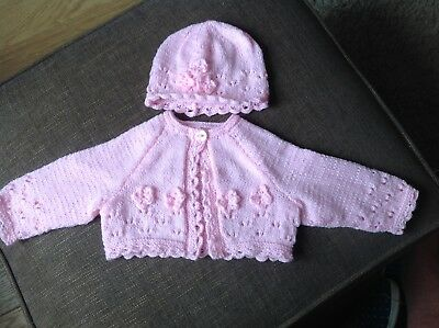 Hand Knitted Baby Cardigan & Hat (Pink)