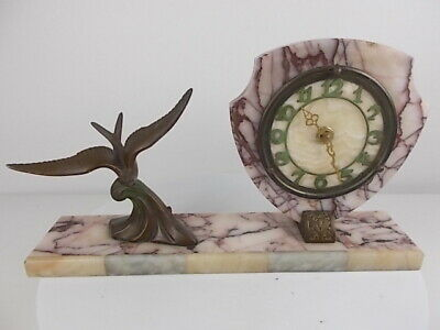 1930s French Marble Art Deco Clock with Bronzed Bird Sculpter - Battery Operated
