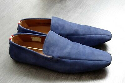 BALLY Like New Blue suede leather mocassins Made in Switzerland S11 45 Val.395€