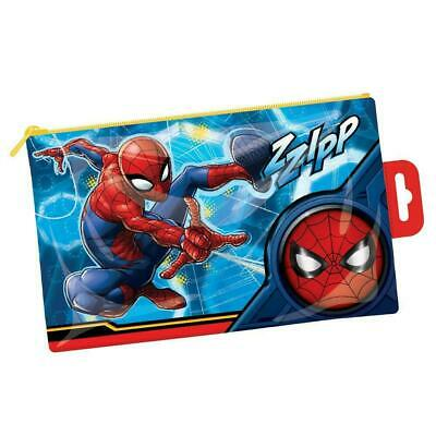 Spiderman Tube Pencil Case Marvel Kids School Stationery Pouch RESCUE OFFICIAL