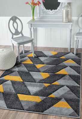 NEW DESIGN Quality Ochre Yellow Mustard Silver Grey Rug Small Large Runner Rugs