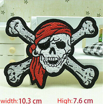 Earring Skull Embroidered Iron/Sew on Patches/Badge Applique Motif DIY Badges !