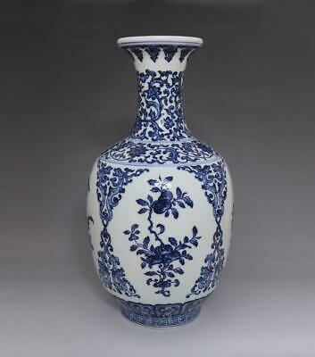 Antique Porcelain Chinese Blue and White Peach Vase YongZheng Marked-36cm